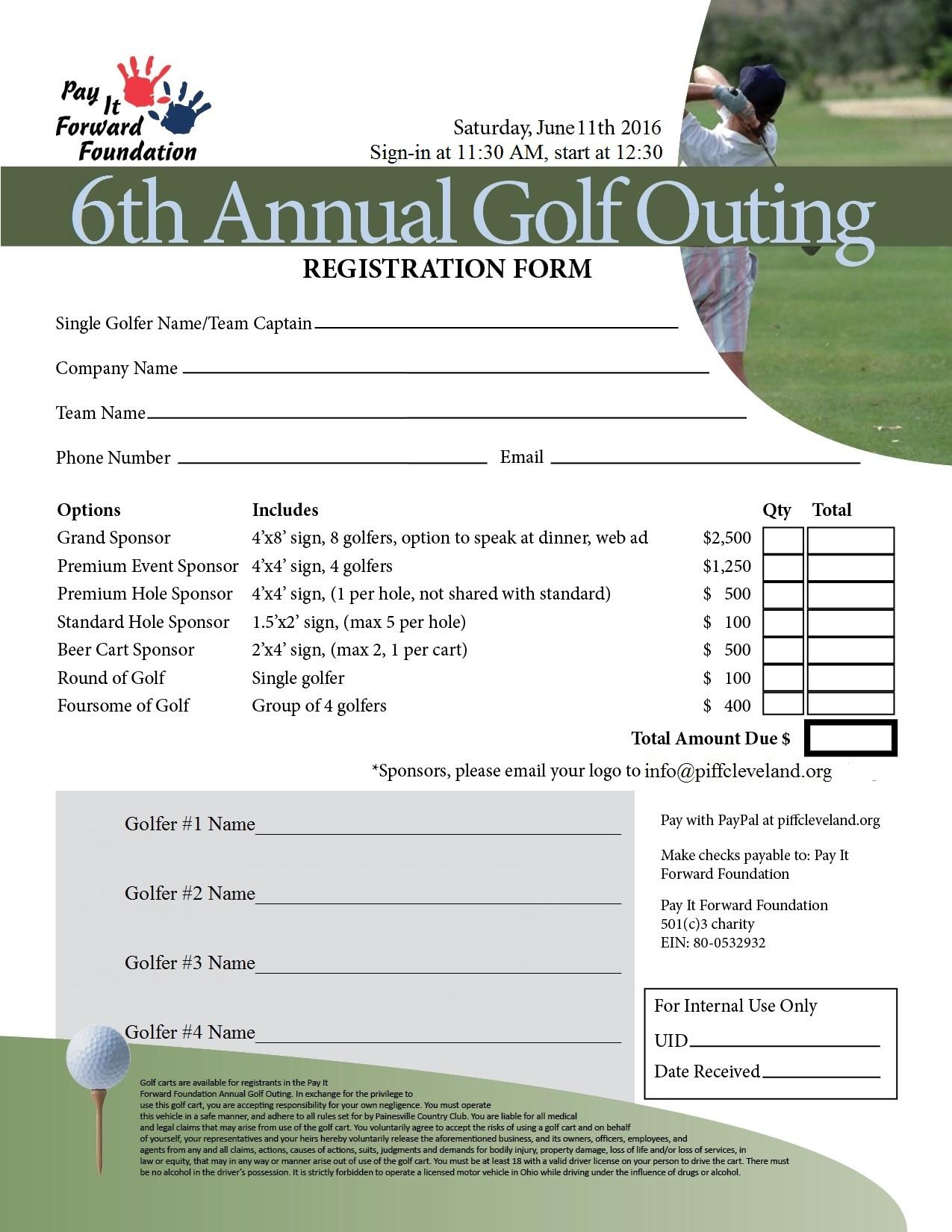Golf Outing 2016 Registration Form