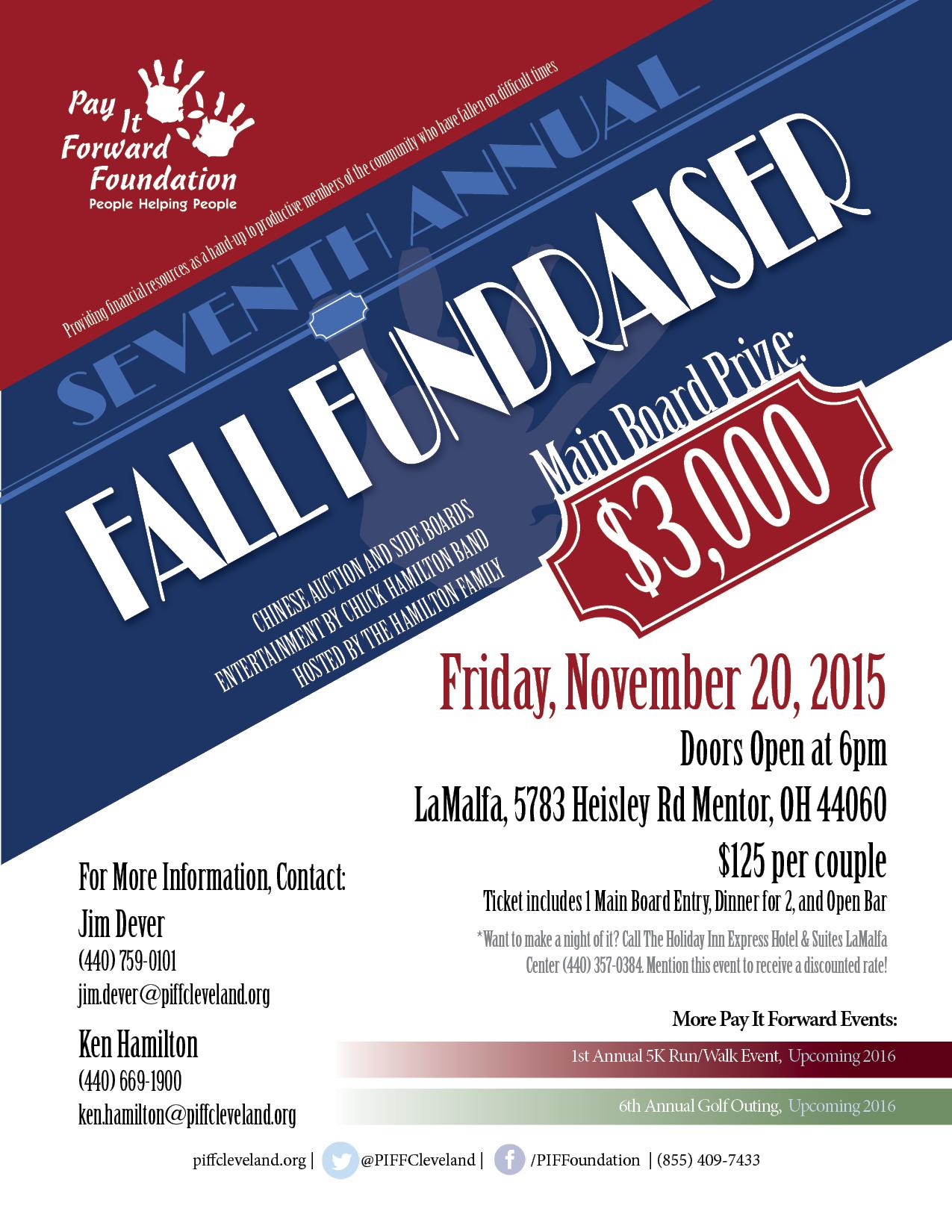 Pay It Forward Foundation Seventh Annual Fall Fundraiser Flier